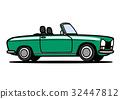 フレンチオープンカー  緑 自動車イラスト 32447812