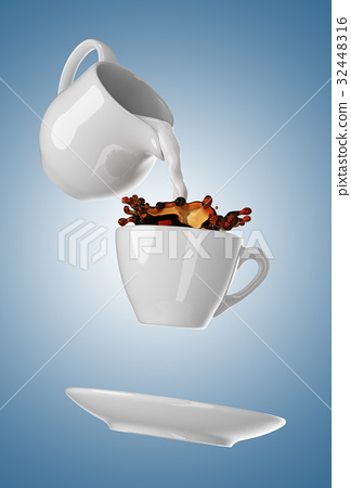 Milk being poured into small cup of coffee. 3d 32448316