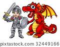 dragon, knight, cartoon 32449166