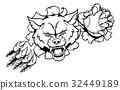 Wolf Baseball Mascot Breaking Background 32449189