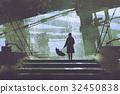 man with umbrella stands under building 32450838
