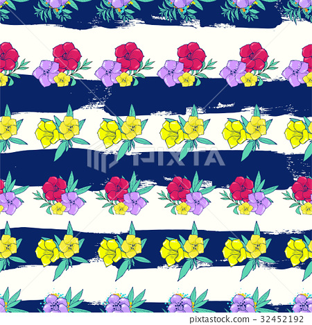 Exotic colorful flowers on a white-blue background 32452192