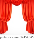 3D rendering red stage curtain on white background 32454645