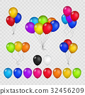 Colored balloons on transparent background 32456209