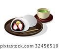 찹쌀떡, 녹차, 일본식 과자 32456519