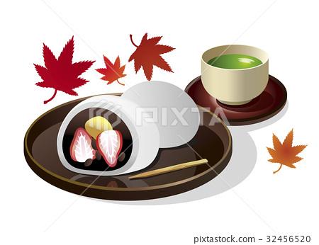 Autumn _ Japanese sweets _ chestnut strawberry Daifuku background white 32456520