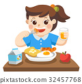 A Little girl eat breakfast in the morning. 32457768