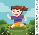 A cute girl running around the playground 32457803