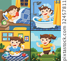 Illustration of The daily routine of a cute girl. 32457811