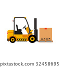 Vector forklift truck with cardboard box 32458695