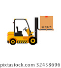 Vector forklift truck with cardboard box 32458696