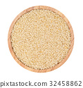 Top view of white sesame in wooden cup 32458862