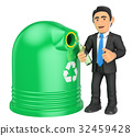 3D Businessman recycling a glass bottle 32459428