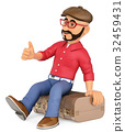 3D Alternative man sitting on suitcase hitchhiking 32459431