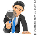 3D Businessman looking through a magnifying glass 32459432