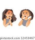 Woman having flu symptoms - runny nose, cough 32459467