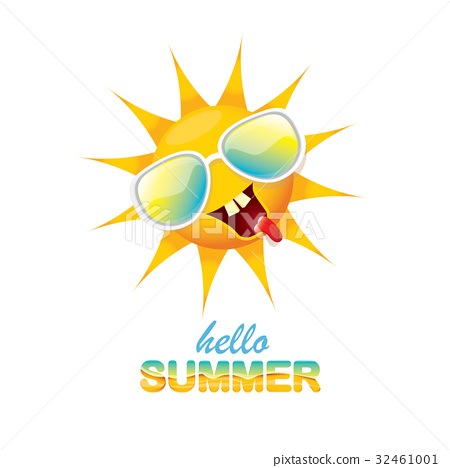 vector hello summer label with smiling shiny sun 32461001