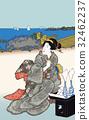 Utagawa Toyokuni Higashi-shi景點玩Hazuki Takanawa圖像例證 32462237