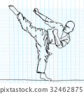 continuous line drawing of karate athlete 32462875
