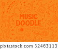 Music Instruments in circle,Hand drawn  32463113