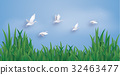 The ducks are flying into the sky. 32463477