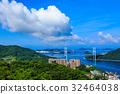 鍋冠山 展望台 長崎港と女神大橋の風景 32464038