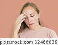 Woman Sickness Headache Cold Fever Concept 32466839