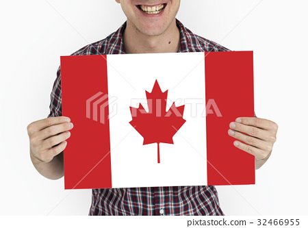 Man Hands Hold Canada Flag Patriotism 32466955