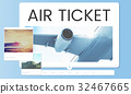 Illustration of air ticket booking for travel destination 32467665