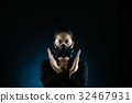 People in gas mask with refuse gesture hand 32467931
