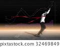 Successful businessman in a finish line. 32469849