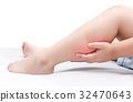 Leg pain or calf muscle in a boy on bed isolated 32470643
