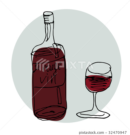 Vector Hand Drawn Illustration. Bottle Of Red Wine 32470947