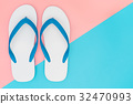White Foam Beach Sandals on pink and blue 32470993