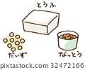 tofu, soybean, natto 32472166