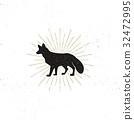 Hand drawn Fox Silhouette illustration. Vintage 32472995