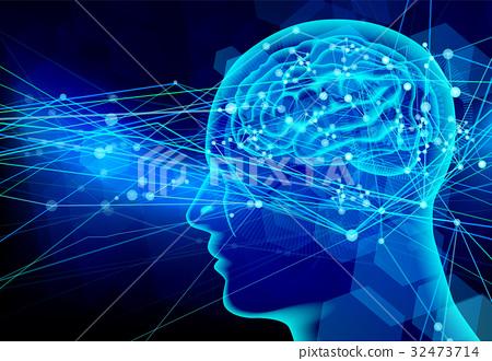 大腦傳播狀態 - 藍色 32473714