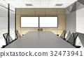 empty meeting room in office corporate, 3d render interior desig 32473941