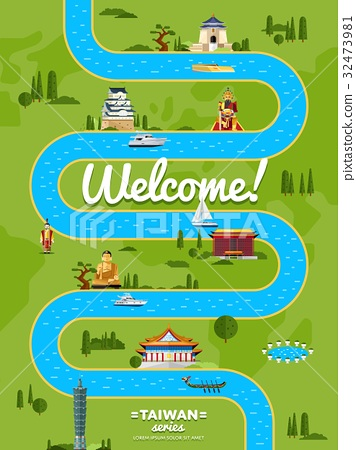 Welcome to Taiwan poster with famous attractions 32473981