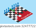 isometric red and blue chess pieces on chessboard 32477722