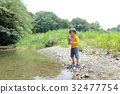 outing to the riverside, playing in a river, baby boy 32477754
