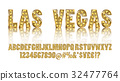 Las Vegas. Color Golden alphabet with show lamps 32477764
