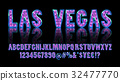 Las Vegas. Color Golden alphabet with show lamps 32477770