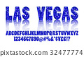 Las Vegas. Color Golden alphabet with show lamps 32477774