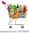 Metal shopping cart full of groceries products. 32479038