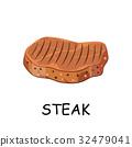 steak, chop meat, a piece of meat cuts. 32479041