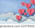 paper art of red balloon heart on blue sky  32479492