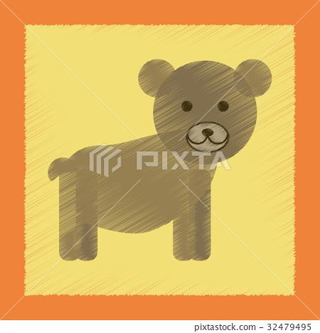 flat shading style icon cartoon bear 32479495