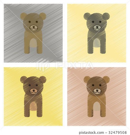 assembly flat shading style icons cartoon bear 32479508