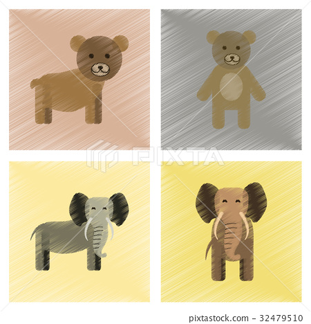 assembly flat shading style icons bear elephant 32479510